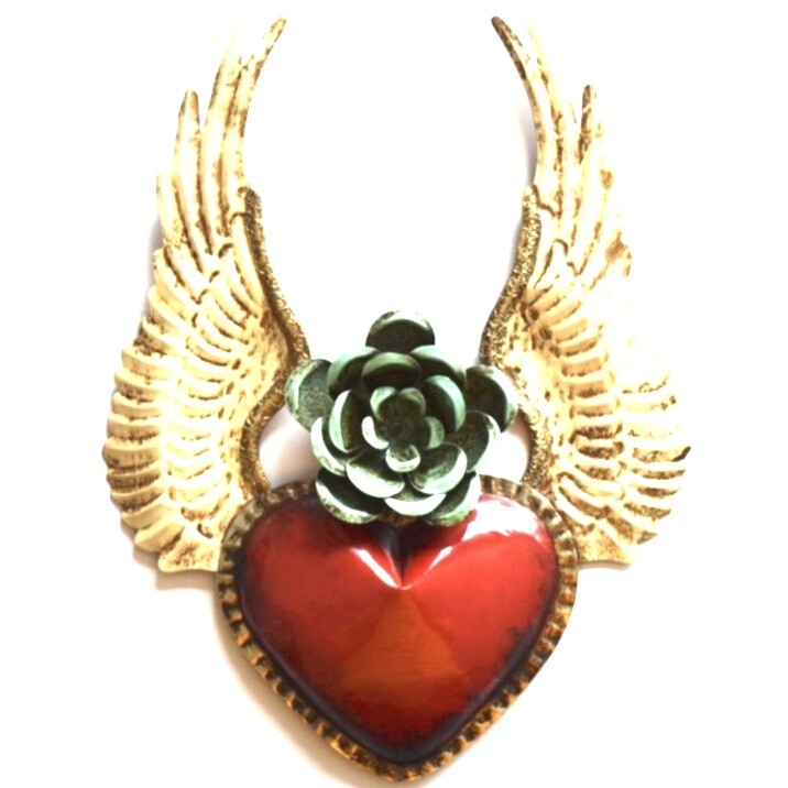 Ex Voto Coeur Sacre ANGEL rouge fleur verte