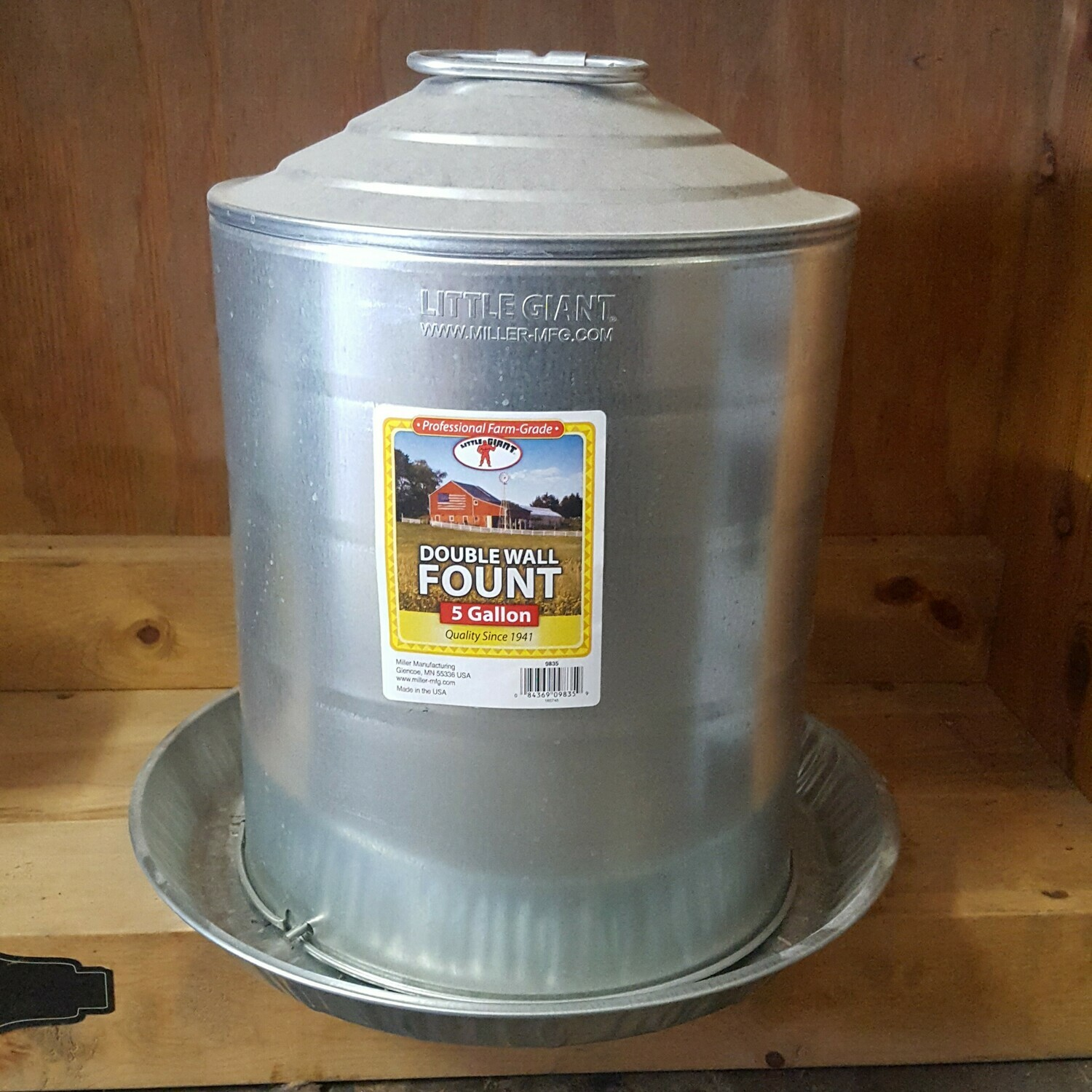 5 Gallon Galvanized Poultry Waterer