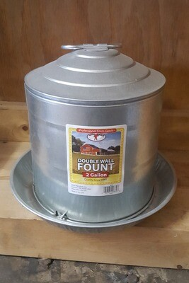 2 Gallon Galvanized Poultry Waterer