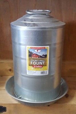 3 Gallon Galvanized Poultry Waterer