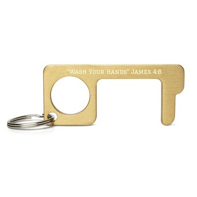 Wash Your Hands Engraved Brass Touch Tool