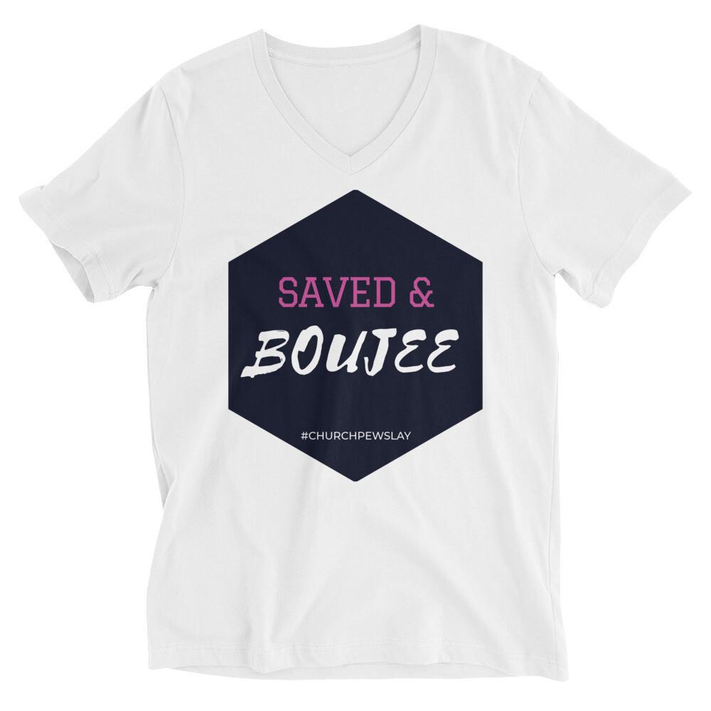 Saved & Boujee Unisex Short Sleeve V-Neck T-Shirt