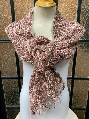Dusty Pink and Brown Scarf