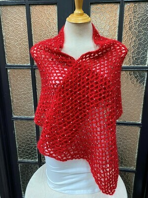 Red Beaded Shawl/Scarf