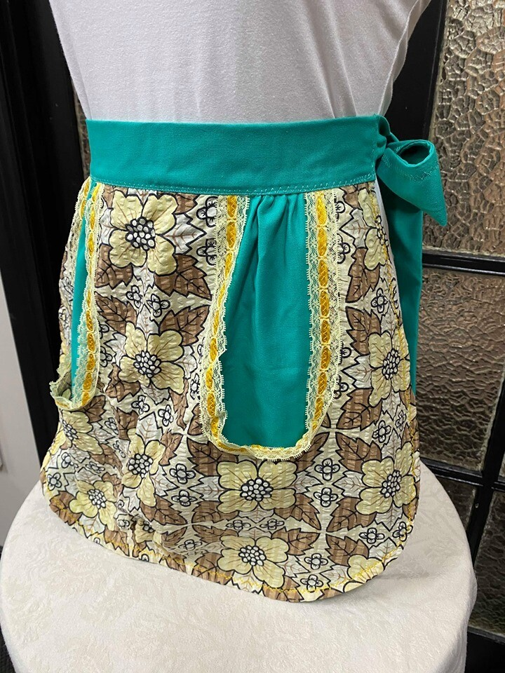 Teal Vintage Fabric Apron