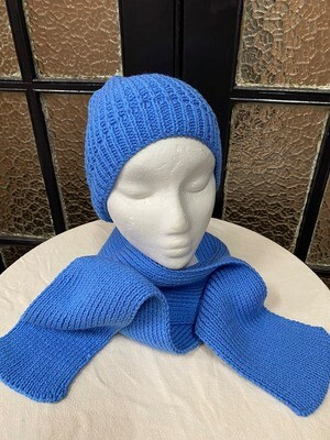 Cornflower Blue Scarf and Beanie Set