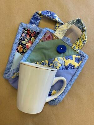 Blue Floral Patchwork 'Mug to go' Bag