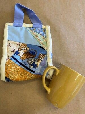 Yellow Cats Patchwork 'Mug to go' Bag