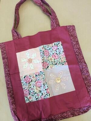 Burgundy Floral Shopping Bag