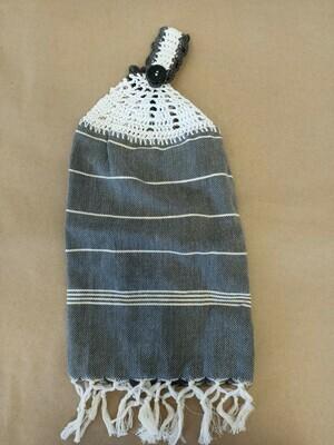 Grey and White Striped Tea Towel