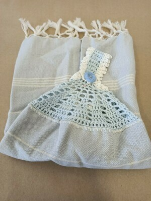 Pale Blue and White Striped Tea Towel