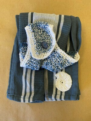 Steel Blue and White Double Tea Towel