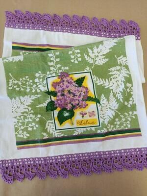Lilac Trimmed Tea Towel