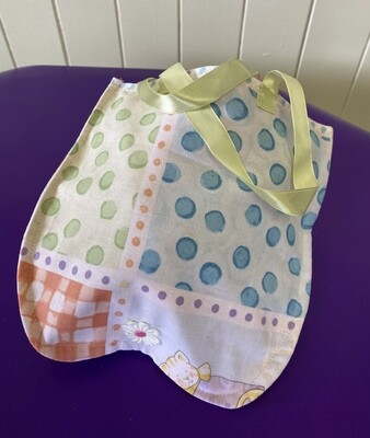 Colourful tote bag with ribbon handles