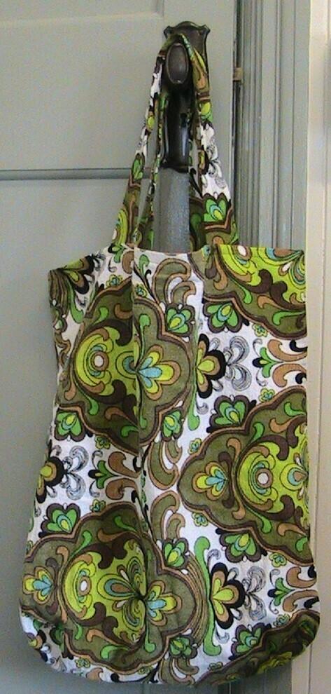 60's print style cloth bag