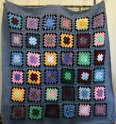 Crochet square throw / blanket in grey
