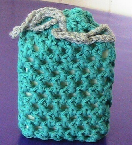 Scented soap in green crocheted cover