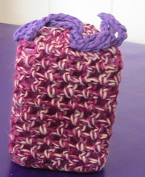Scented soap with pink crocheted cover
