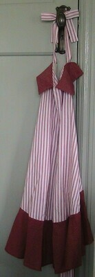 Apron - Maroon striped with contrasting trim