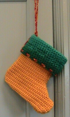 Christmas Elf Boot Stocking - Green & Gold