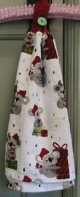 Hand towel - Christmas Koala with crocheted top