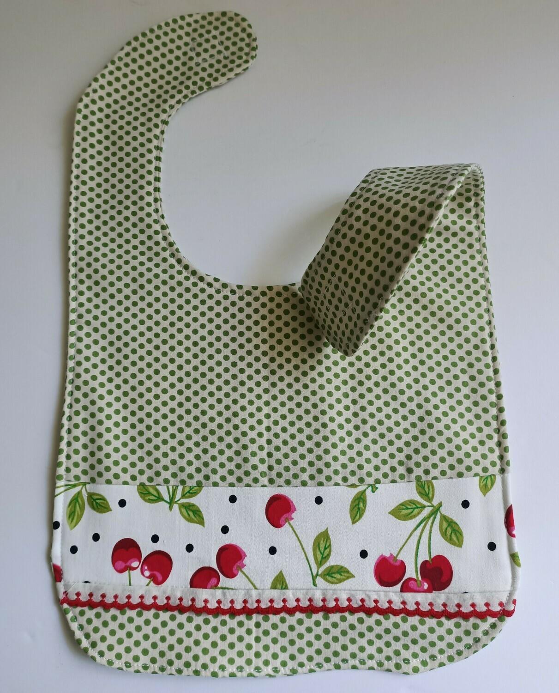 Cherries Bib, 2 sided, velcro fastening, material (ref # 41)