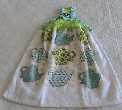 Hanging hand towel - Teapot theme - Crochet in lime green with blue/white trim