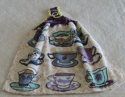 Hanging hand towel - Tea cup theme - Crochet in purple with yellow trim