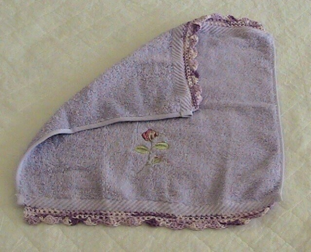 Face washer with Rose embroidery - Crochet edging in mauve hues