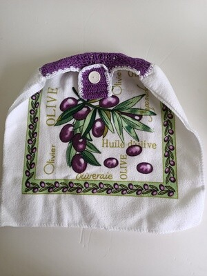 Hanging Teatowel - Olive theme with purple & white crochet trim (ref # 152)