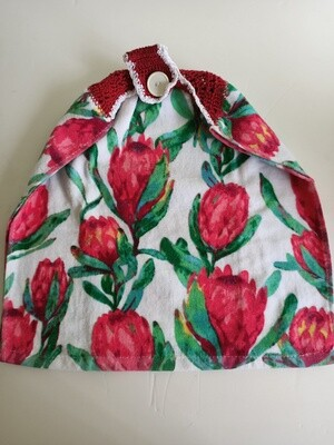 Hanging Teatowel - Australian Banksias with red & white crochet trim (ref # 151)