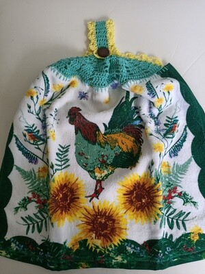 Hanging Teatowel - Rooster and Sunflowers with green & lemon crochet trim (ref # 162)