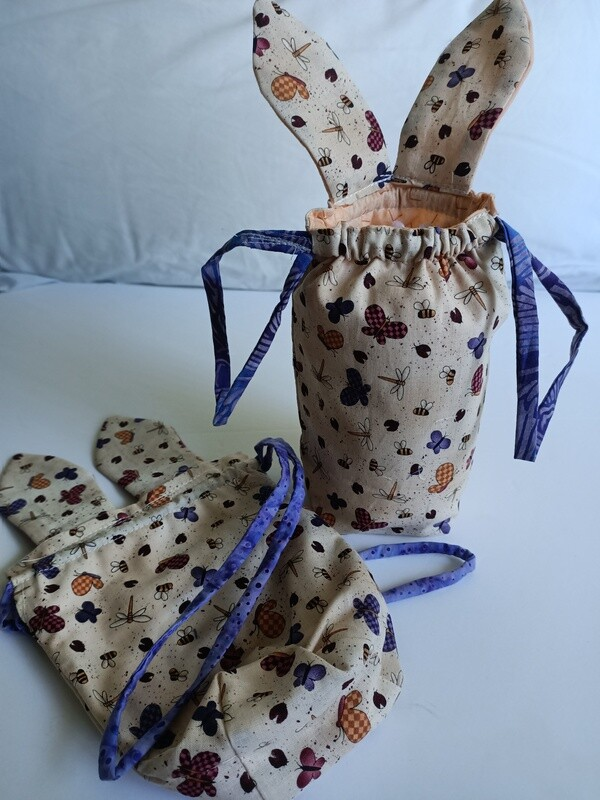 Easter Pouch - Butterfly & Dragonfly, drawstring, suitable to fit large Easter egg (ref # 167)