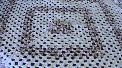 Crochet Pastel Pink, Beige & White Throw - Acrylic - Gentle machine wash (ref # 48)