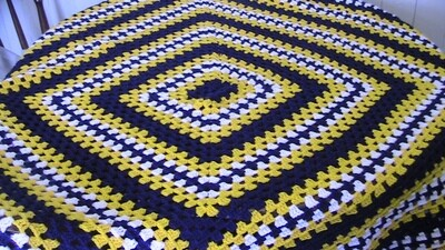 Crochet Blue & Yellow Throw - Acrylic - Gentle machine wash (ref # 47)