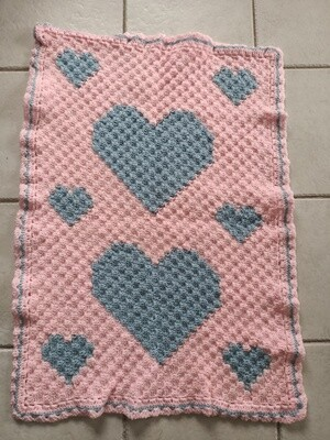 Pink with Blue Hearts Rug (ref # 188)