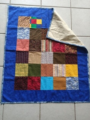 Patchwork Rug in Blues & Browns (ref # 198)