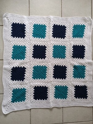 Crocheted throw / blanket in white, blue and green (ref # 189)