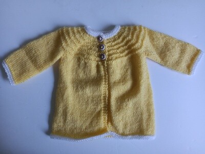 Yellow & White Coat - For ages 0 to 3 months (ref # 204)