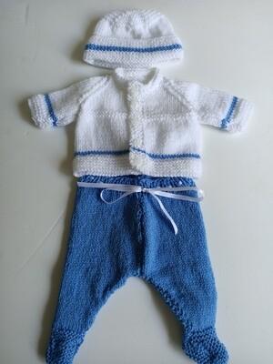 Blue & White Coat, Leggins & Beanie Set for New Born (ref # 203)