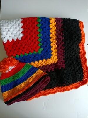 Multicolour Knee Rug & Beanie (ref # 214)