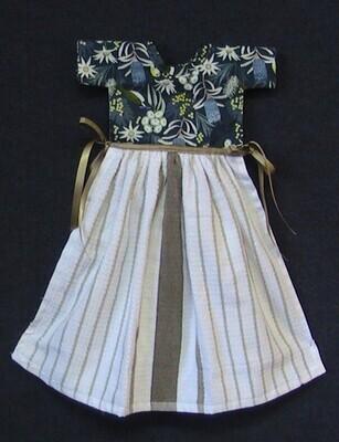 Hanging tea towel - double layer - dress style - Australiana theme in blue (ref # 231)