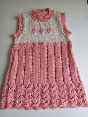 Girl's knitted pink and white dress - Acrylic blend (ref # 220)
