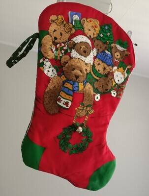 Christmas Stocking with bell in red (front) and green (back) - Ref # 222
