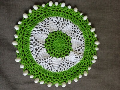 Beaded Jug Cover - Green and White (ref # 227)