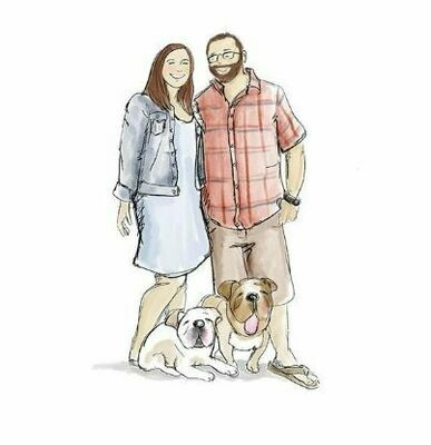 Three Person (includes couple with pets) or three Pet illustration