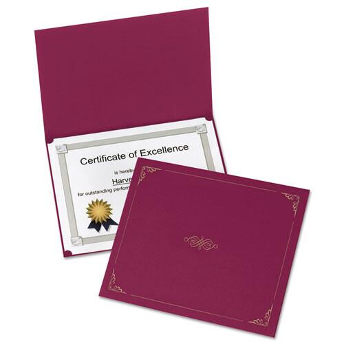 Oxford™ Certificate Holder, 11 1/4 x 8 3/4, Burgundy, 5/Pack