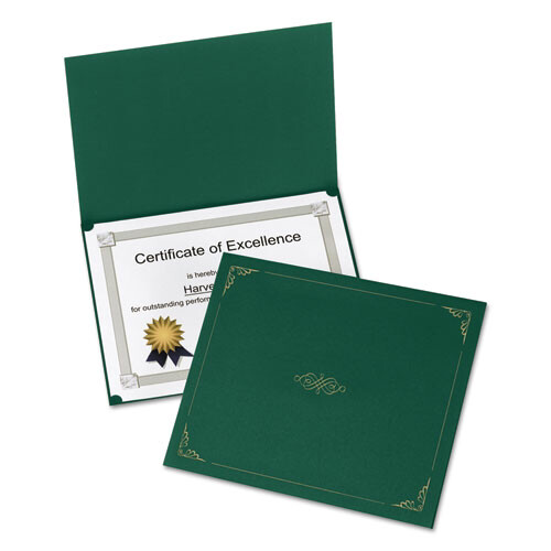 Oxford™ Certificate Holder, 11 1/4 x 8 3/4, Green, 5/Pack