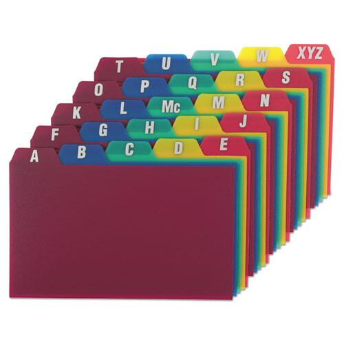 Oxford™ Card Guides, Alpha, 1/5 Tab, Polypropylene, 3 x 5, 25/Set