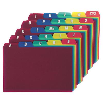 Oxford™ Card Guides, Alpha, 1/5 Tab, Polypropylene, 4 x 6, 25/Set